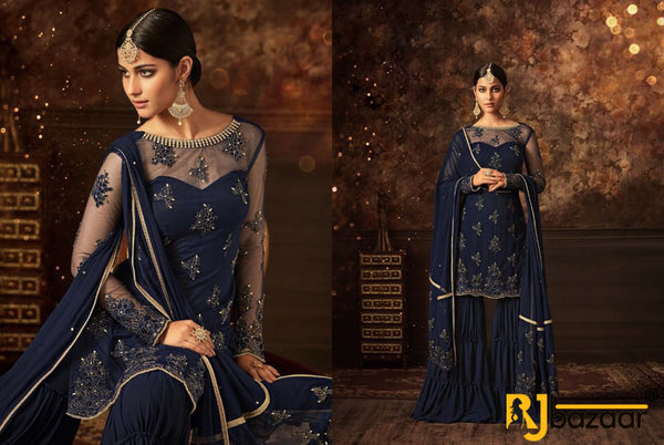 Blue Vaishnavi Net With Embroidery