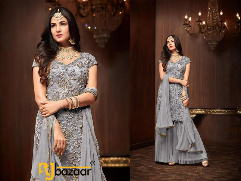 Gray Salwar Suit Heavy Football Net With Embroidery