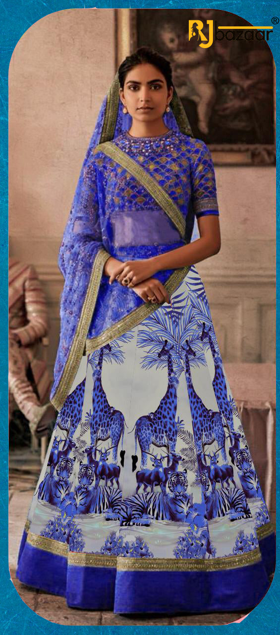 Blue Satin Silk Digital With Embroidery Lehenga Choli