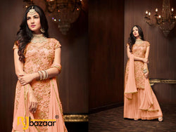 Orange  Salwar Suit Heavy Football Net With Embroidery
