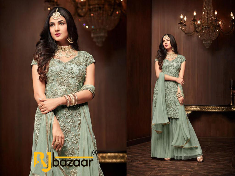Green  Salwar Suit Heavy Football Net With Embroidery