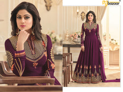 Purpal Anarkali Suit FoxGorget & Embroidery And Diamond