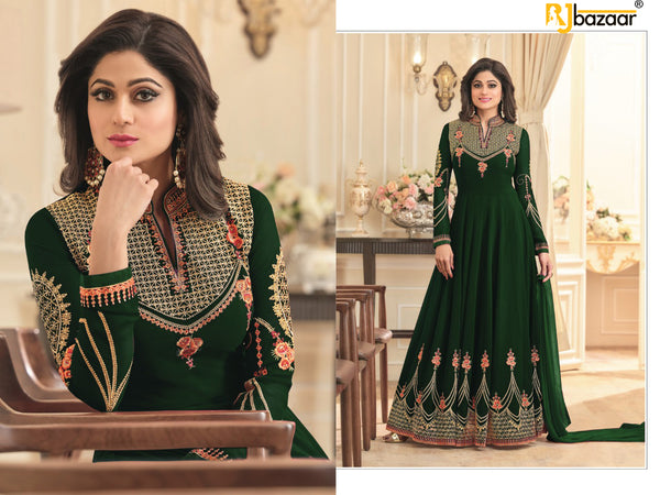 Green Anarkali Suit FoxGorget & Embroidery And Diamond