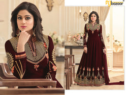 Maroon Anarkali Suit FoxGorget & Embroidery And Diamond