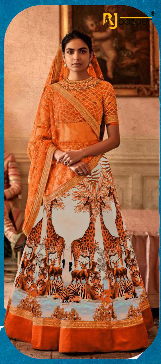 Orange Satin Silk Digital With Embroidery Lehenga Choli