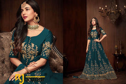 Green Gown Georgette With Embroidery And Diamond