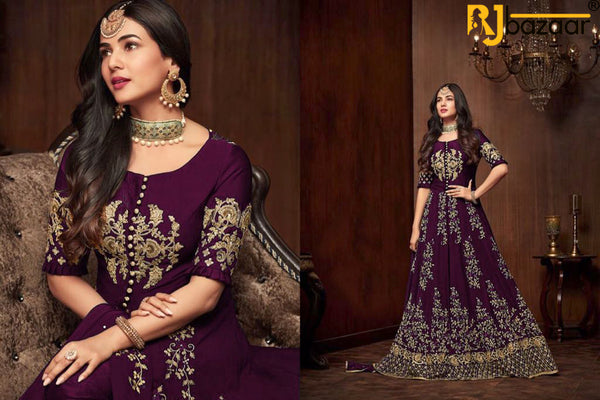Purple Gown Georgette With Embroidery And Diamond