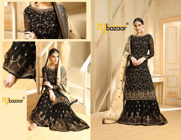 Black Faux Georgette with Embroidery