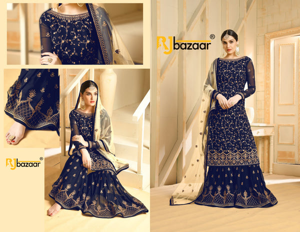 Blue Faux Georgette with Embroidery