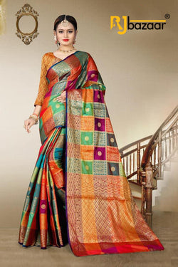 Multi Color Banarasi Silk Saree