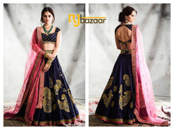 Blue Lengha Choli Heavy Tapeta Silk
