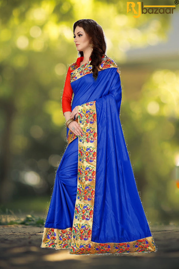 Blue Paper Silk Saree Box Pallu Viscos Jecard Border
