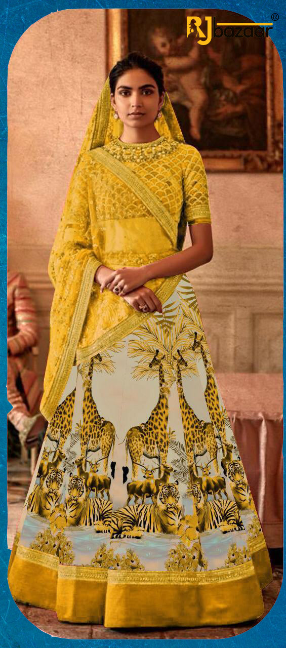 Yellow Satin Silk Digital With Embroidery Lehenga Choli