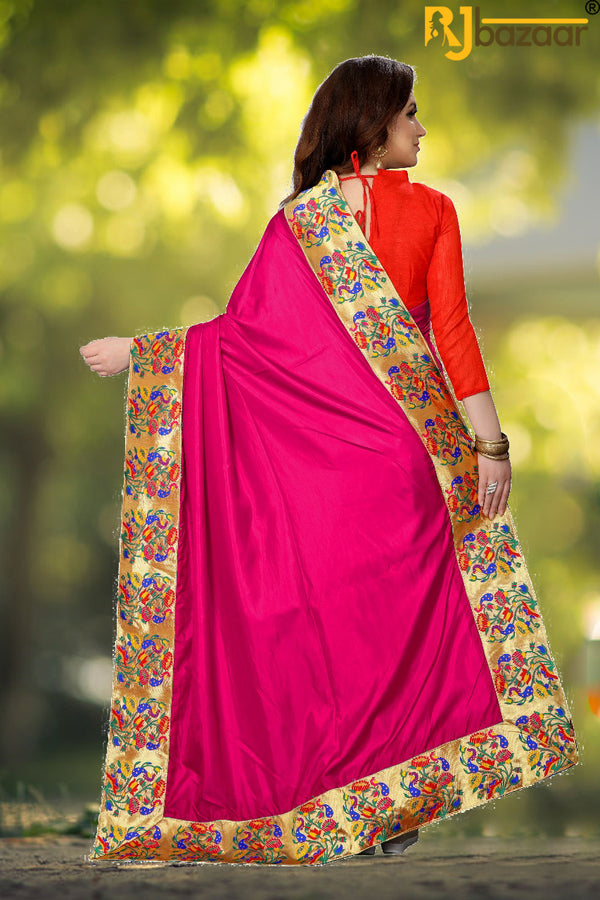 Pink Paper Silk Saree Box Pallu Viscos Jecard Border