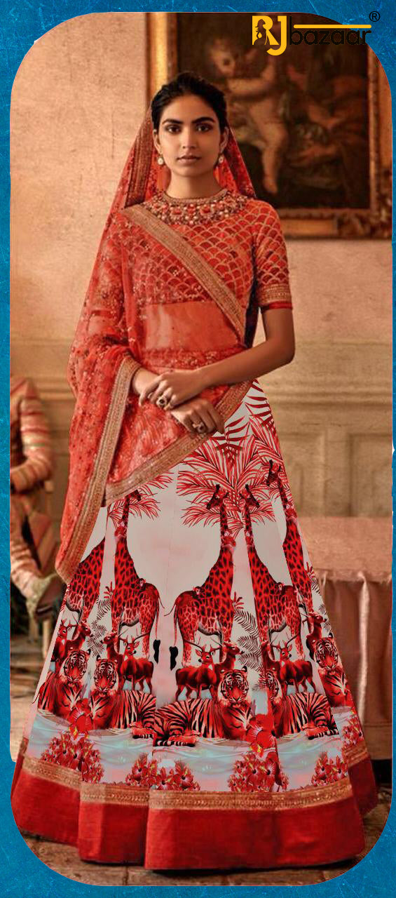 Red Satin Silk Digital With Embroidery Lehenga Choli