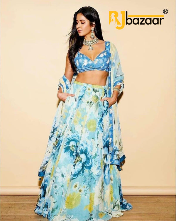 Aqua Lengha Choli Amazing Flower Prints