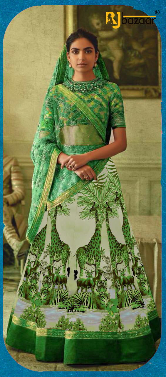 Green Satin Silk Digital With Embroidery Lehenga Choli
