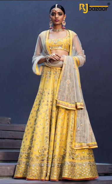 Yellow Wedding Wear Designer Lehenga Choli