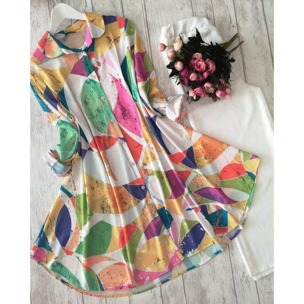 Beautiful Women's American Crepe Multi colour kurti with plazzo