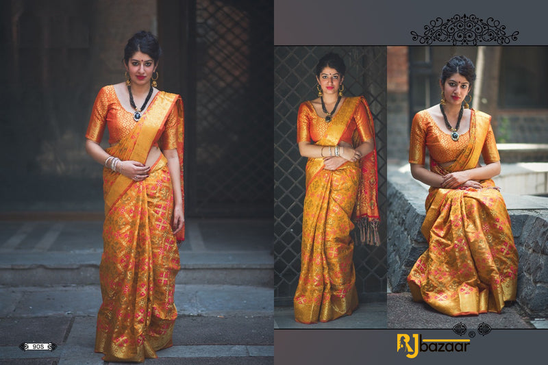 Orange Patola Silk Saree