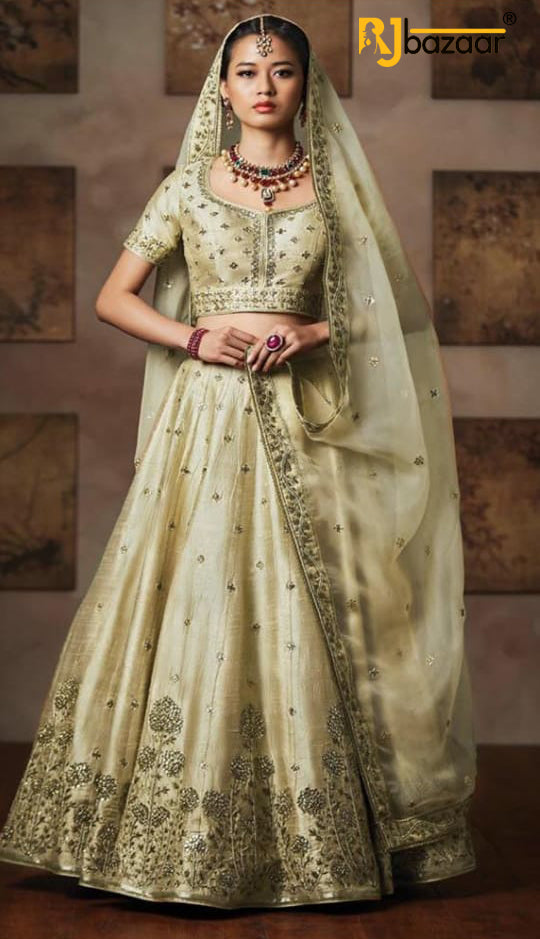 Bride Cream Chennai Silk Bridal Wear Lehenga Choli