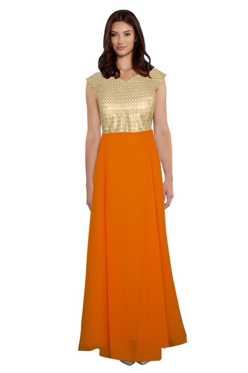 Exclusive Designer Olay Orange Gown