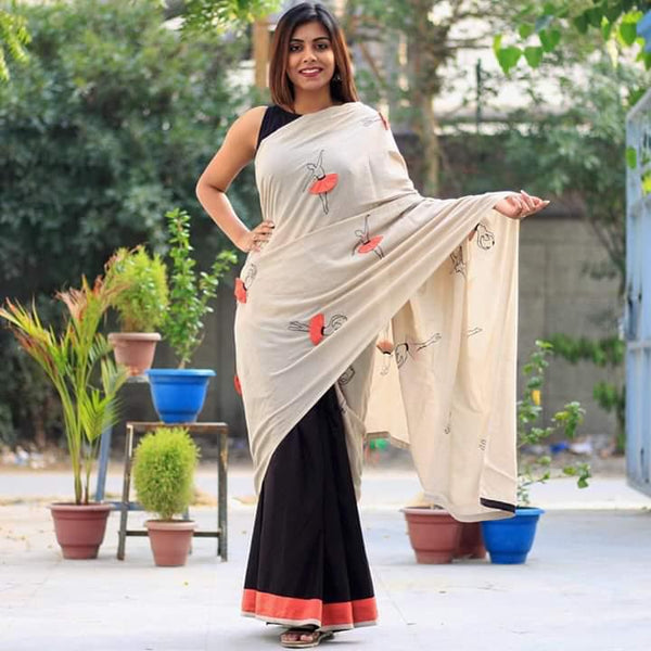 White And Black Georgete Saree With Banglori Silk Blouse