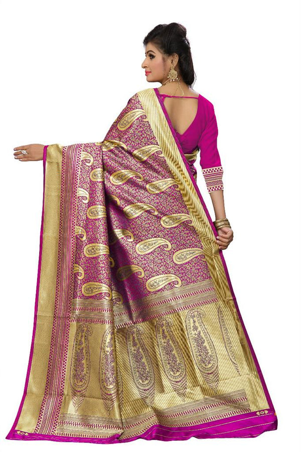 Pink Kanchi Silk And Heavyjecard Saree With Blouse