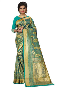 Green Kanchi Silk And Heavyjecard Saree With Blouse
