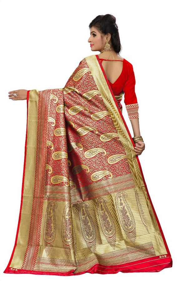 Red Kanchi Silk And Heavyjecard Saree With Blouse