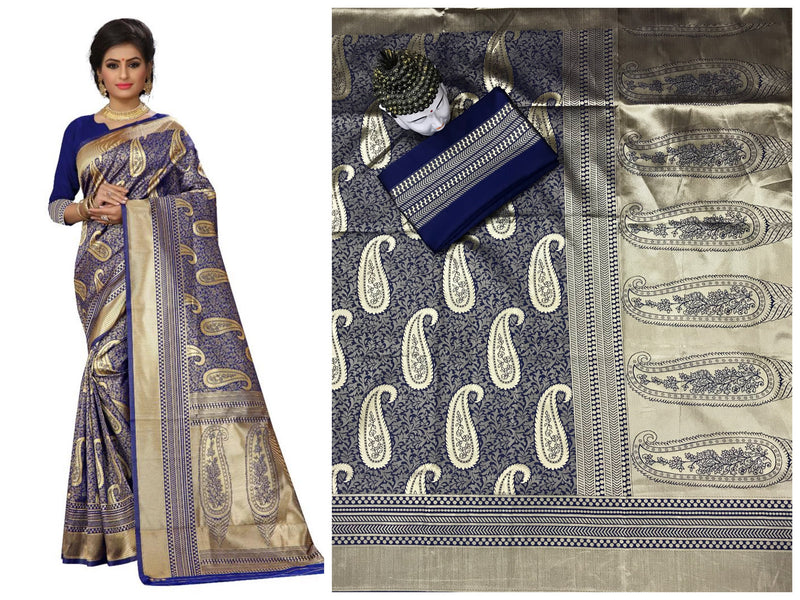 Blue Kanchi Silk And Heavyjecard Saree With Blouse