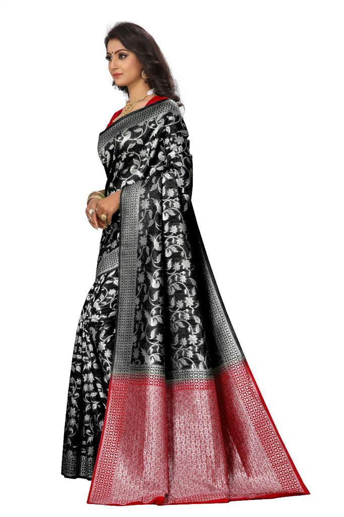 Black Banarasi Jecard Silk Saree
