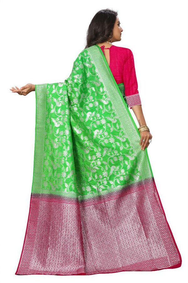 Green Banarasi Jecard Silk Saree