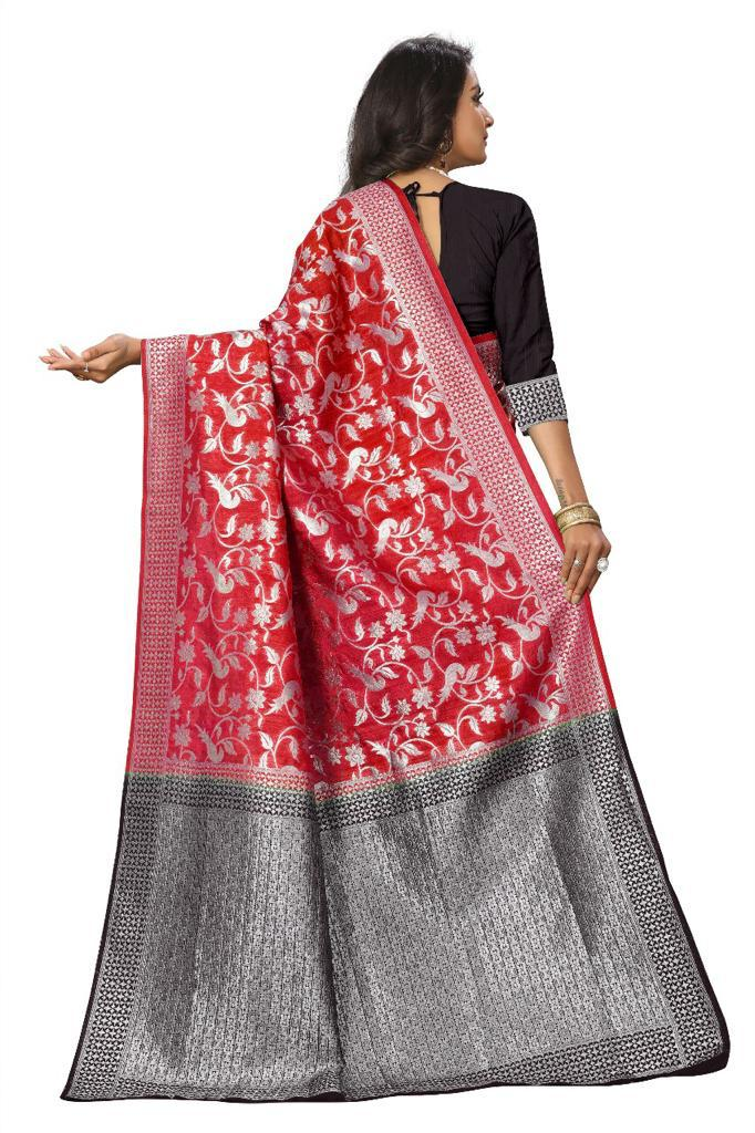 Red Banarasi Jecard Silk Saree