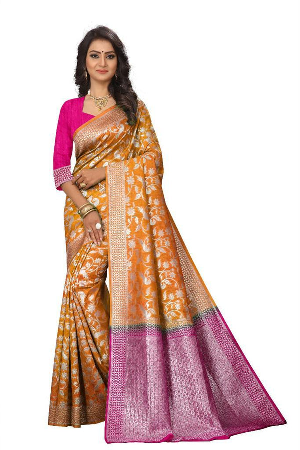 Yellow Banarasi Jecard Silk Saree