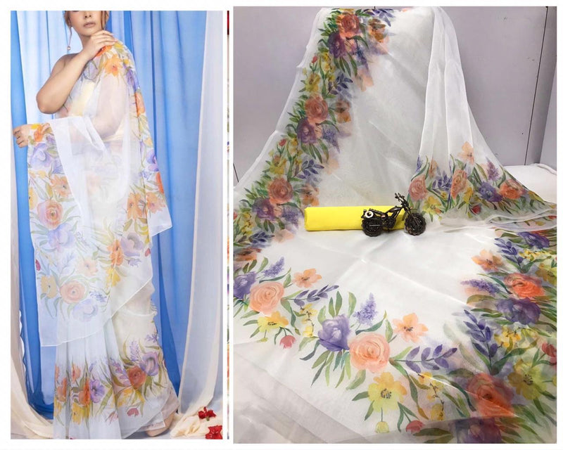 Organza Saree With Digital Printed And Party Wear Saree