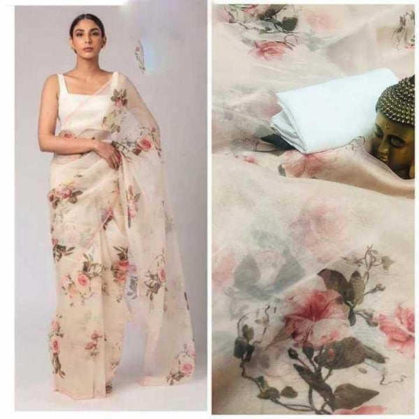 Pure Organza Saree With Digital Printed and Bangalori Silk blouse piece