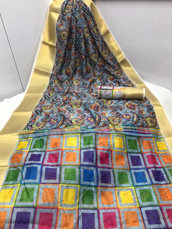 Hand loom Linen Saree With Pure Digital Printed