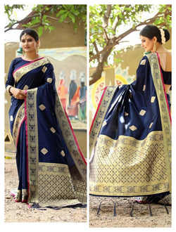 Blue Heavy Jacquard Weaving Cotton Silk Saree For Women