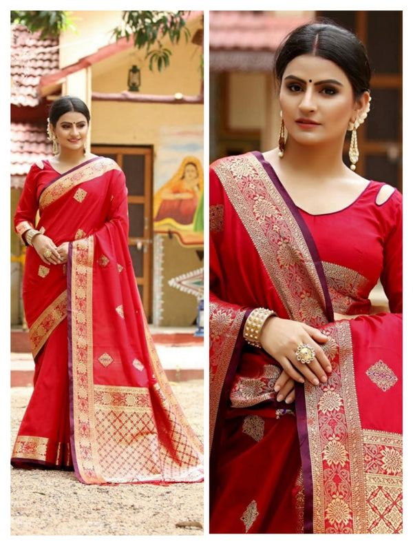 Red Heavy Jacquard Weaving Cotton Silk Saree For Women