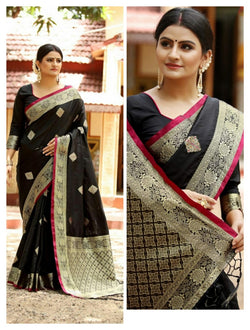 Black Heavy Jacquard Weaving Cotton Silk Saree For Women