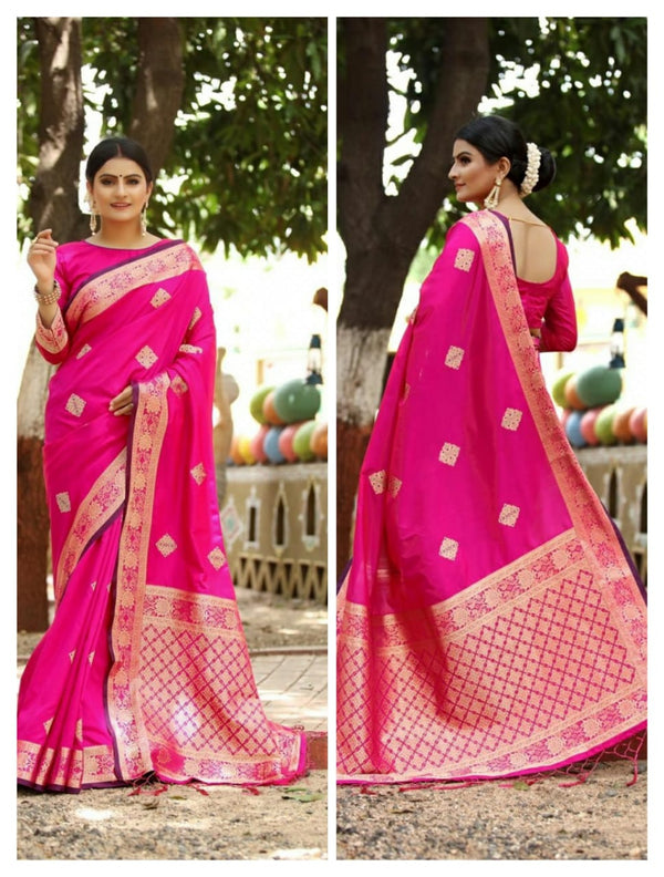 Pink Heavy Jacquard Weaving Cotton Silk Saree For Women