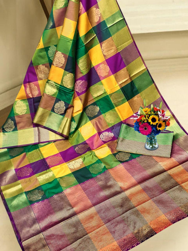 Multi Color Weaving Silk Saree With Rich Zari Pallu And Rich Heavy Border
