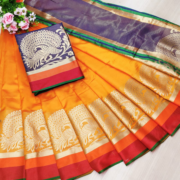 Orange Rich Weaving Cotton Silk Party Wear Saree