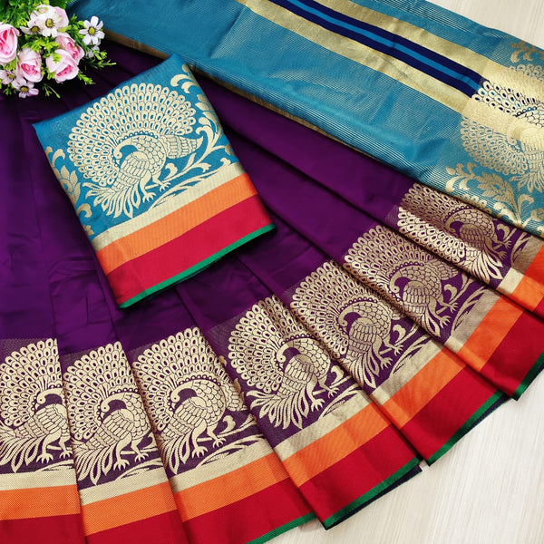 Purple Rich Weaving Cotton Silk Party Wear Saree