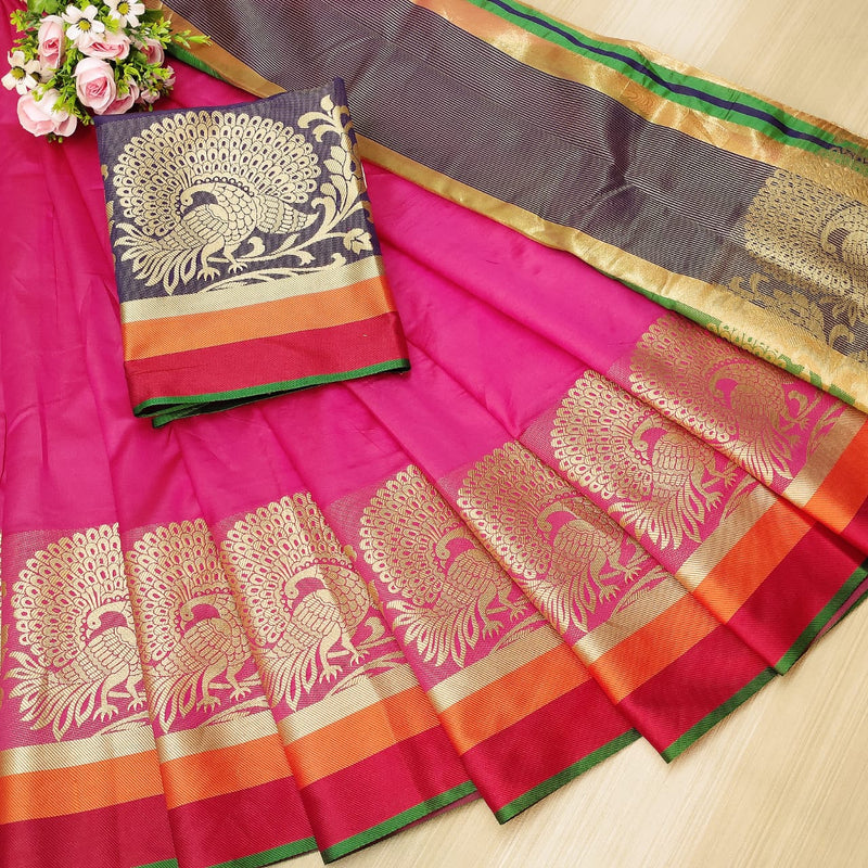 Pink Rich Weaving Cotton Silk Party Wear Saree