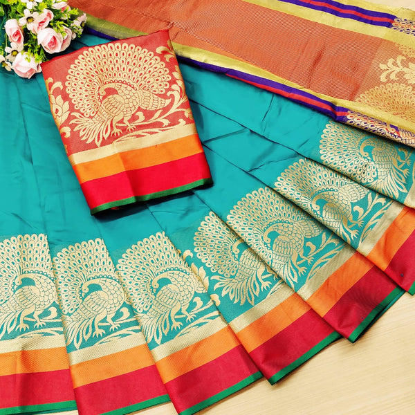 Rama Rich Weaving Cotton Silk Party Wear Saree