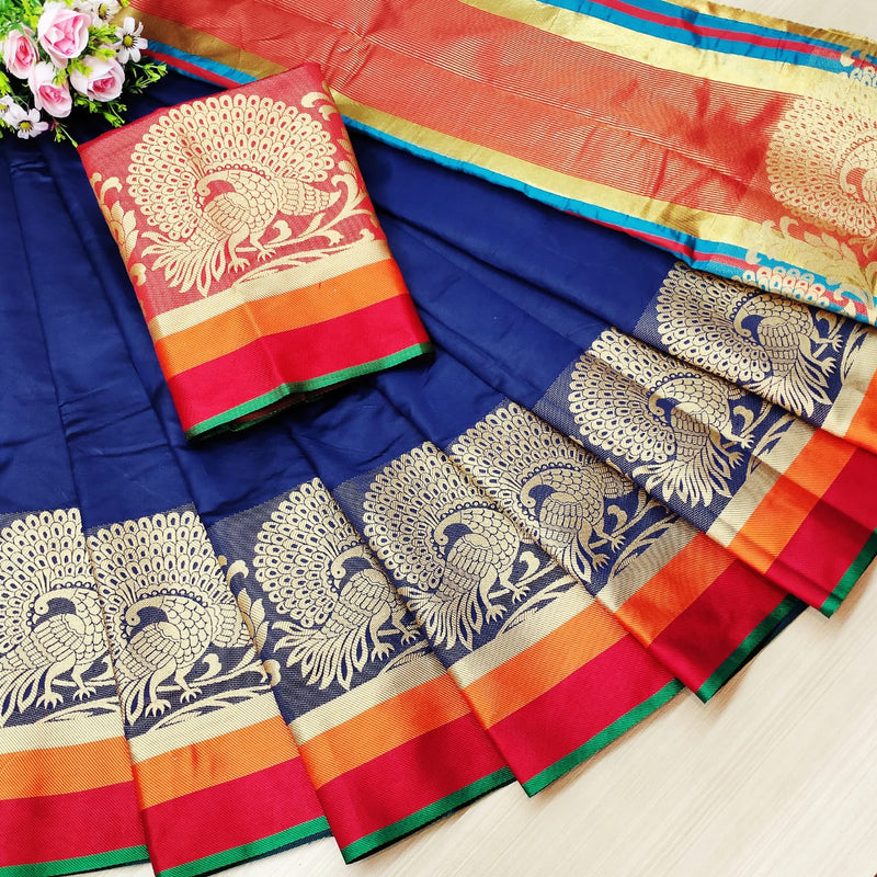 Blue Rich Weaving Cotton Silk Party Wear Saree