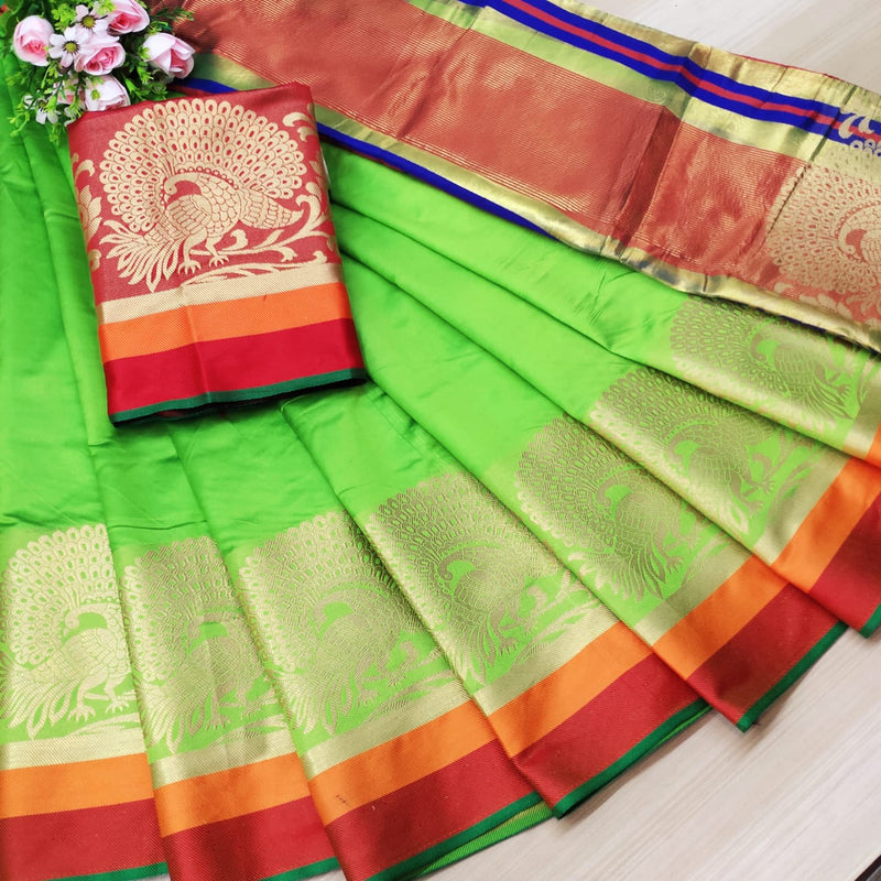 Light Green Rich Weaving Cotton Silk Party Wear Saree
