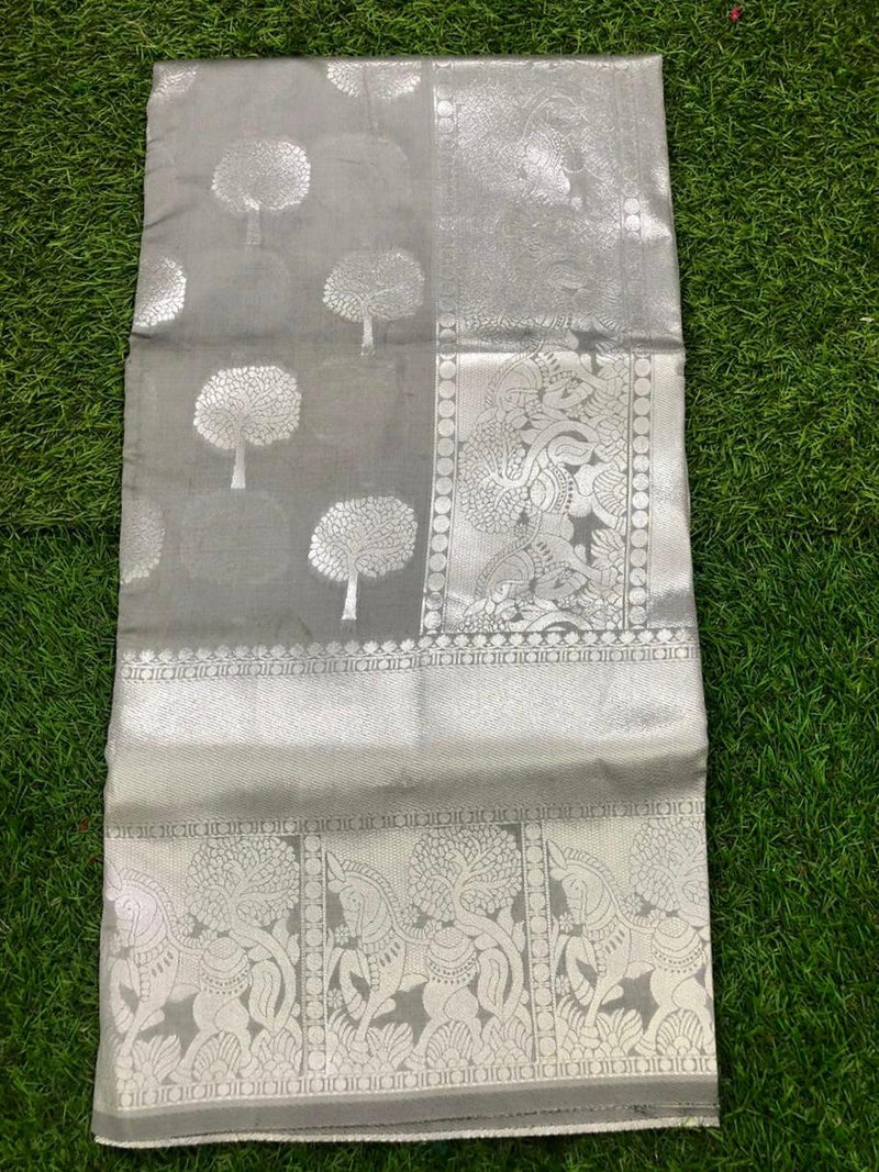 Silver Pure Lichi Soft Silk Saree With Silver Zari And Designer Blouse